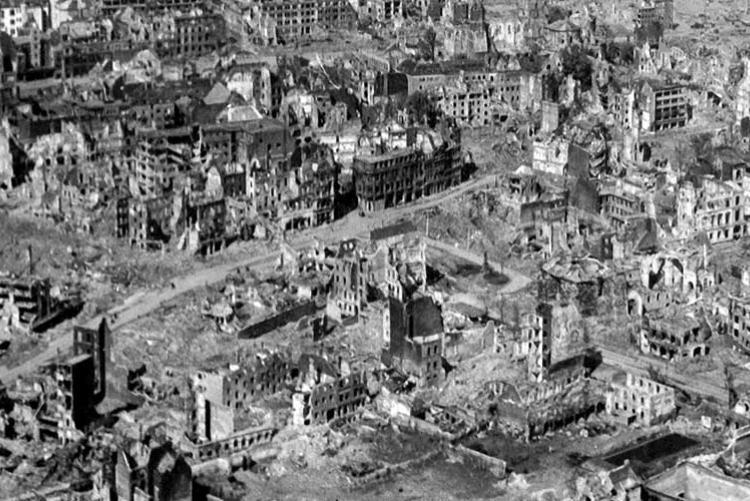 Aufnahme einer zerstörten Stadt